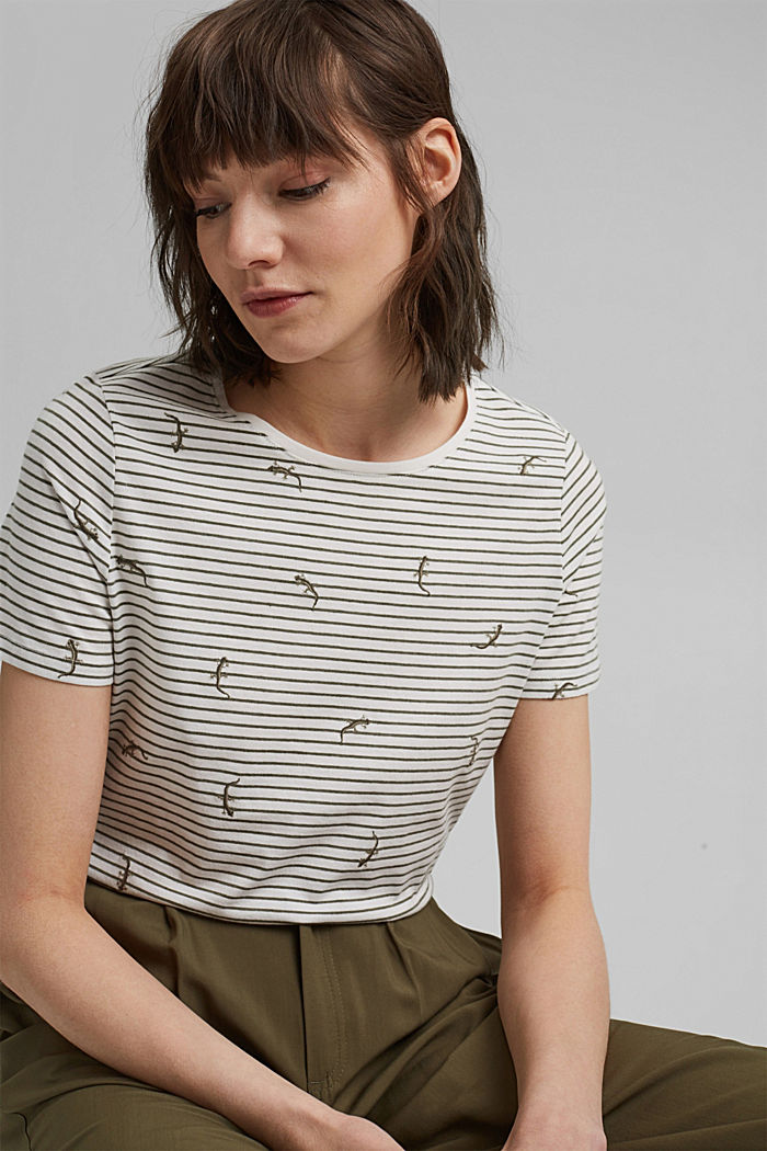 Embroidered striped top with organic cotton