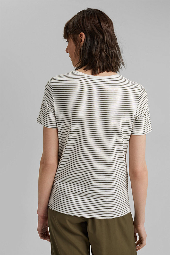 Embroidered striped top with organic cotton, KHAKI GREEN, detail image number 3