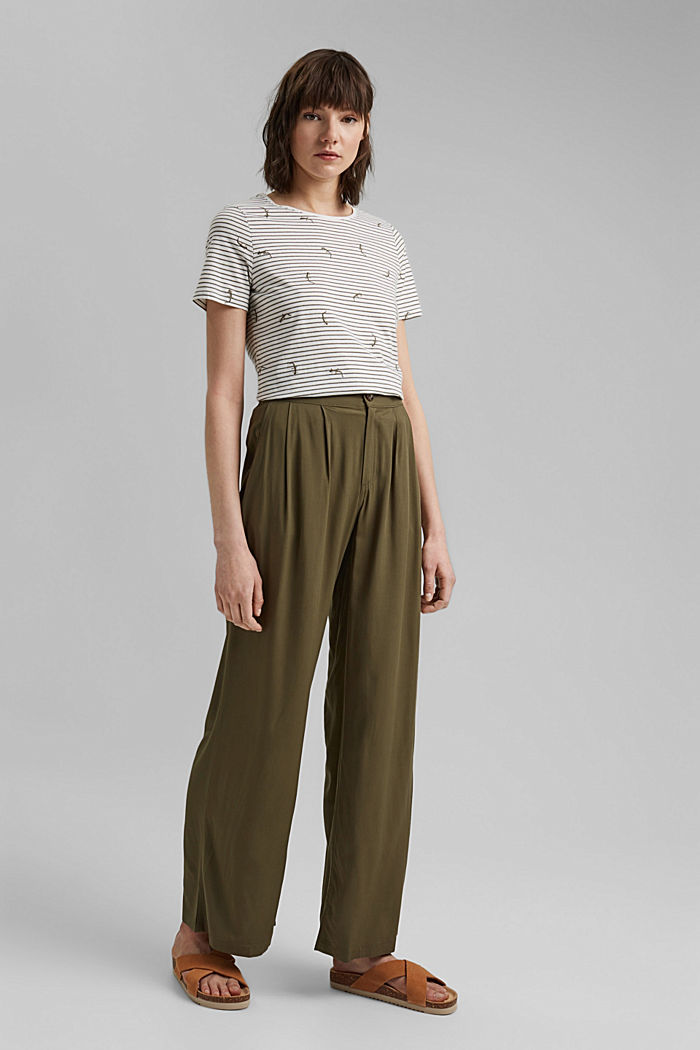 Embroidered striped top with organic cotton, KHAKI GREEN, detail image number 1