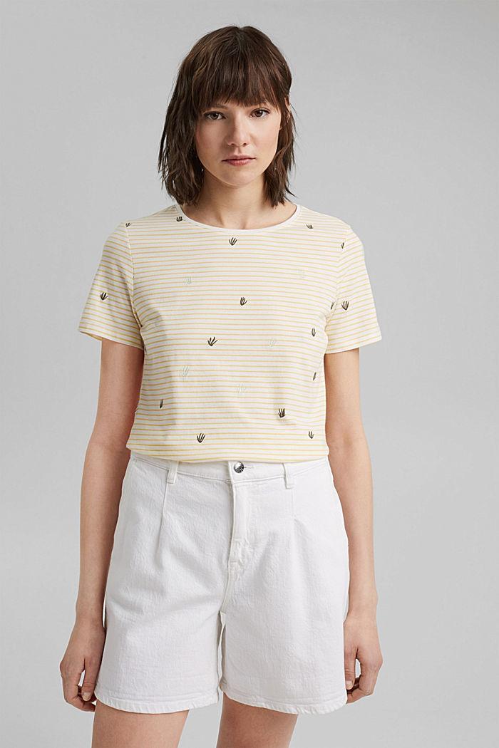 Besticktes Streifen-Shirt mit Bio-Baumwolle, LIGHT YELLOW, detail image number 0