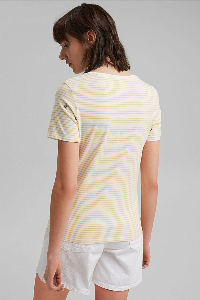 Besticktes Streifen-Shirt mit Bio-Baumwolle, LIGHT YELLOW, detail image number 3