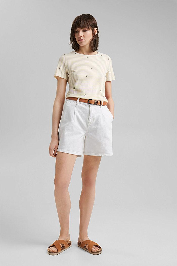 Besticktes Streifen-Shirt mit Bio-Baumwolle, LIGHT YELLOW, detail image number 1