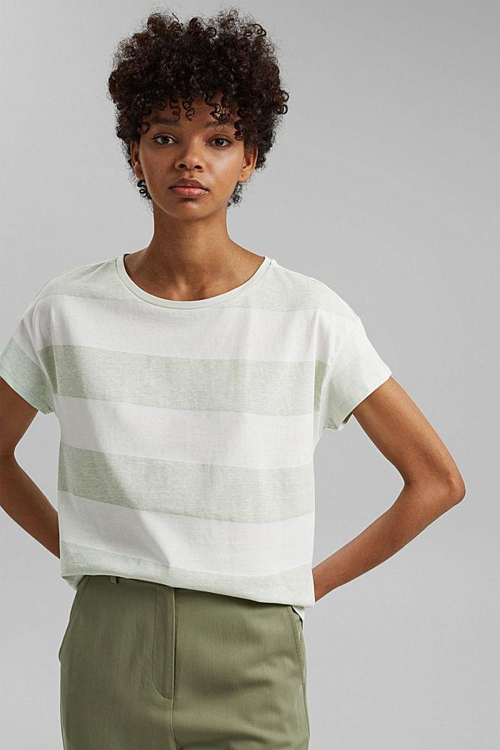 T-shirt with block stripes, 100% organic cotton, PASTEL GREEN, detail image number 5