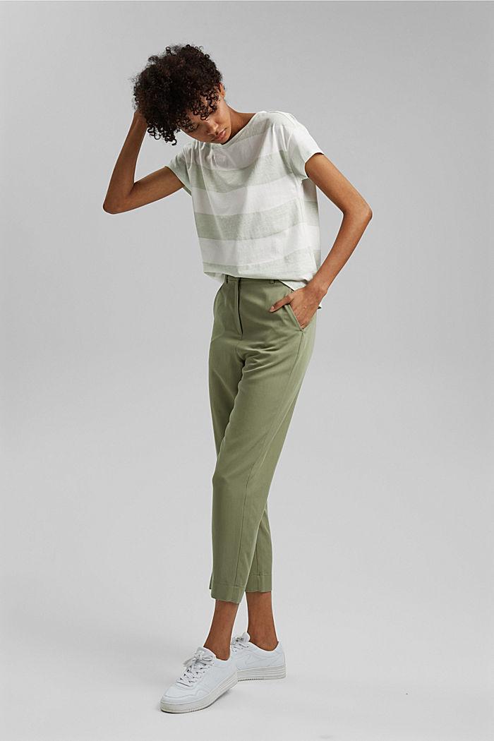 T-shirt with block stripes, 100% organic cotton, PASTEL GREEN, detail image number 1