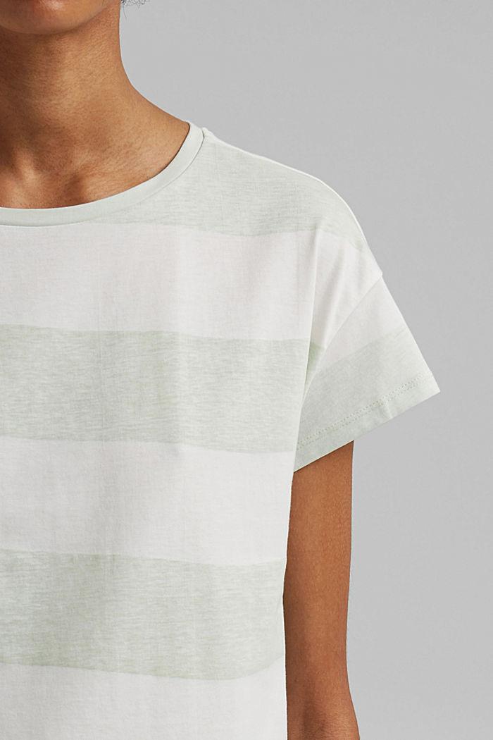 T-shirt with block stripes, 100% organic cotton, PASTEL GREEN, detail image number 2