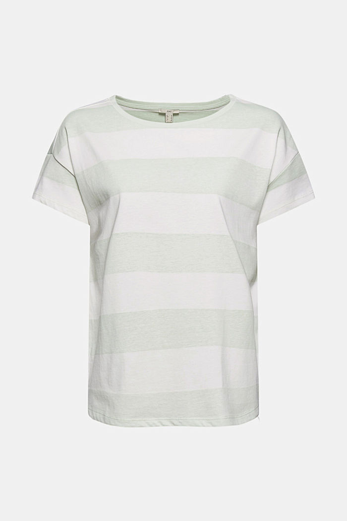 T-shirt with block stripes, 100% organic cotton, PASTEL GREEN, detail image number 7