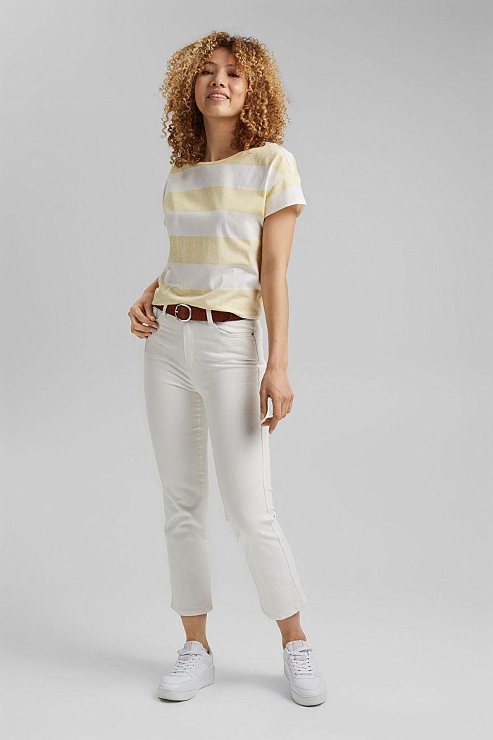 T-Shirt mit Blockstreifen, 100% Organic Cotton, LIGHT YELLOW, detail image number 1