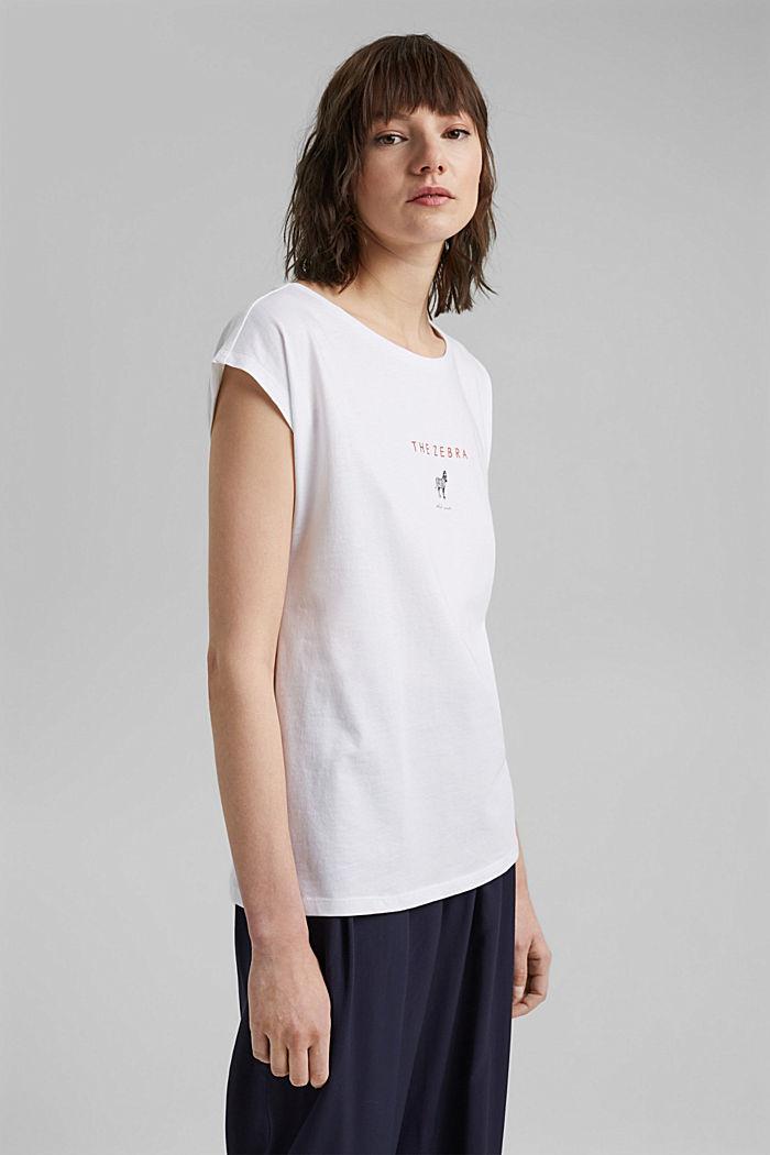 Camiseta con estampado en 100% algodón ecológico, WHITE, detail image number 0