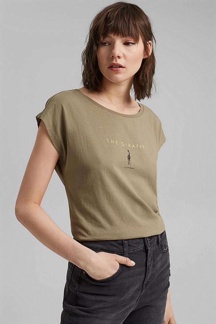Tričko s potiskem, ze 100% bavlny, LIGHT KHAKI, detail image number 5