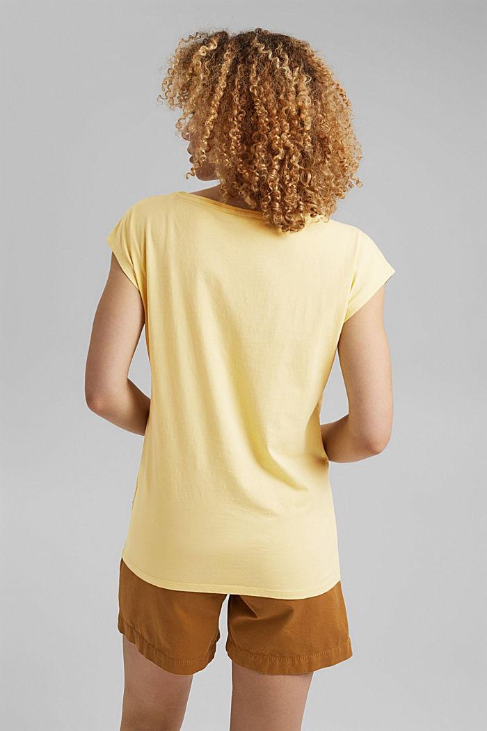 T-shirt met print, van 100% biologisch katoen, LIGHT YELLOW, detail image number 3