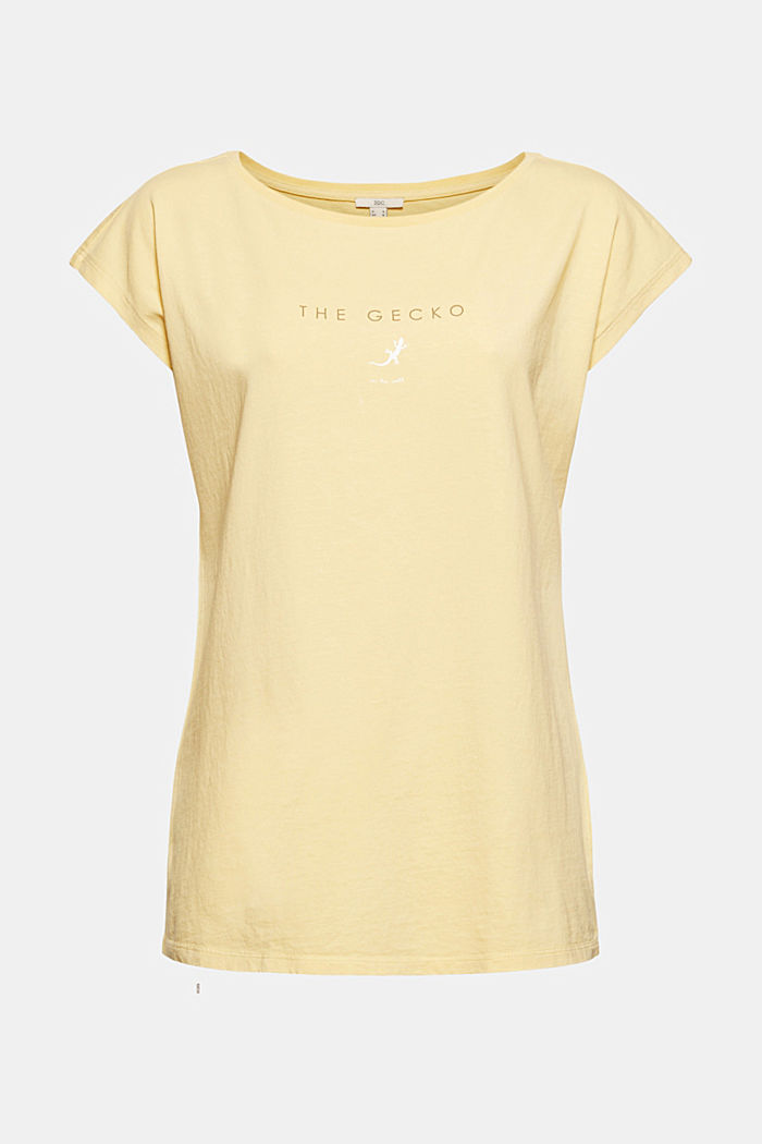 T-shirt met print, van 100% biologisch katoen, LIGHT YELLOW, detail image number 7