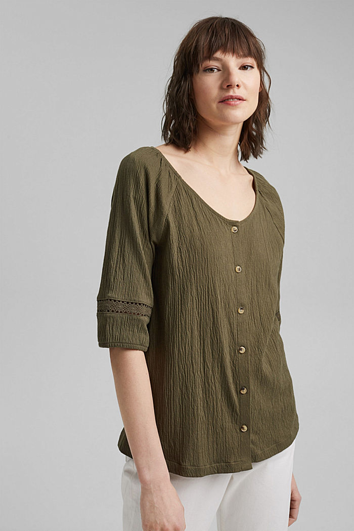 Crinkle top with crocheted lace, organic cotton, KHAKI GREEN, detail image number 0