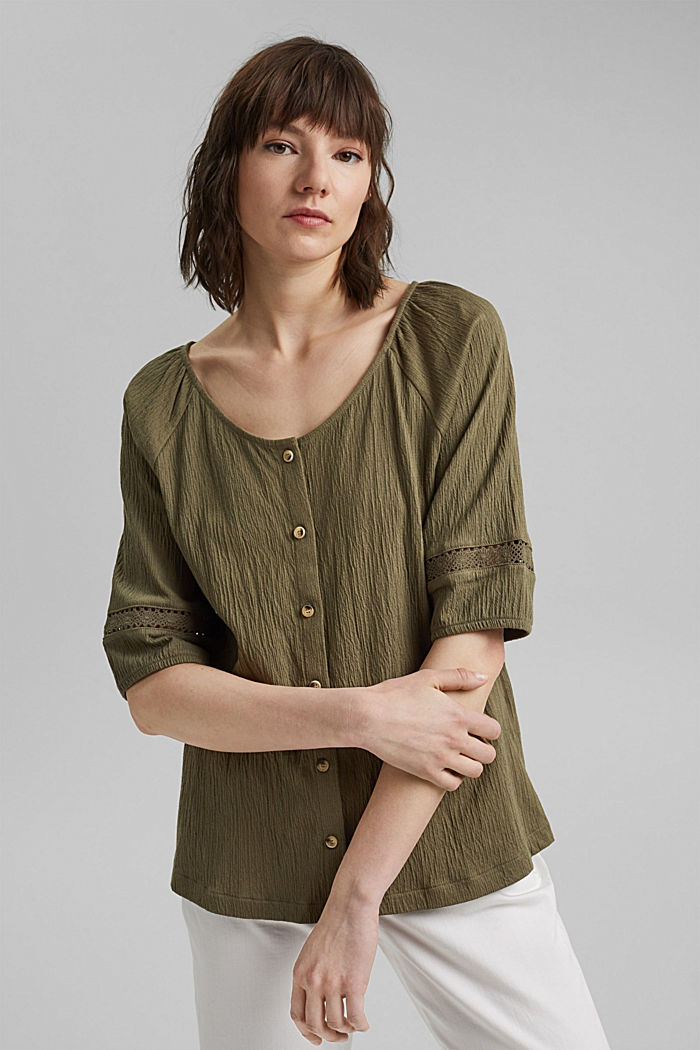 Crinkle top with crocheted lace, organic cotton, KHAKI GREEN, detail image number 5
