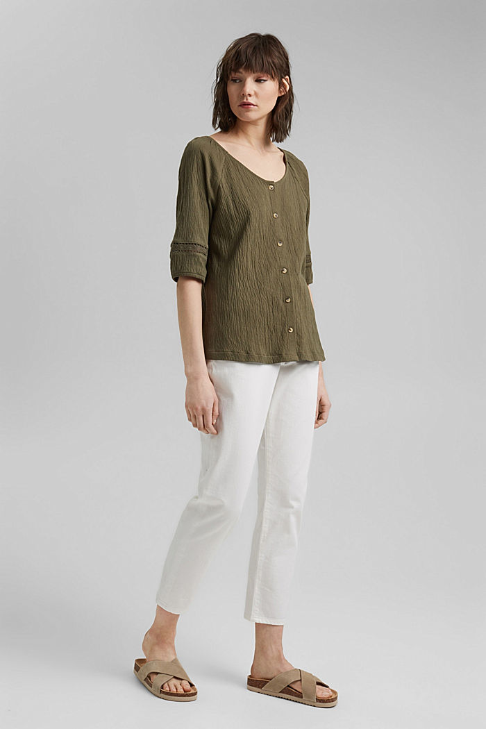 Crinkle top with crocheted lace, organic cotton, KHAKI GREEN, detail image number 1