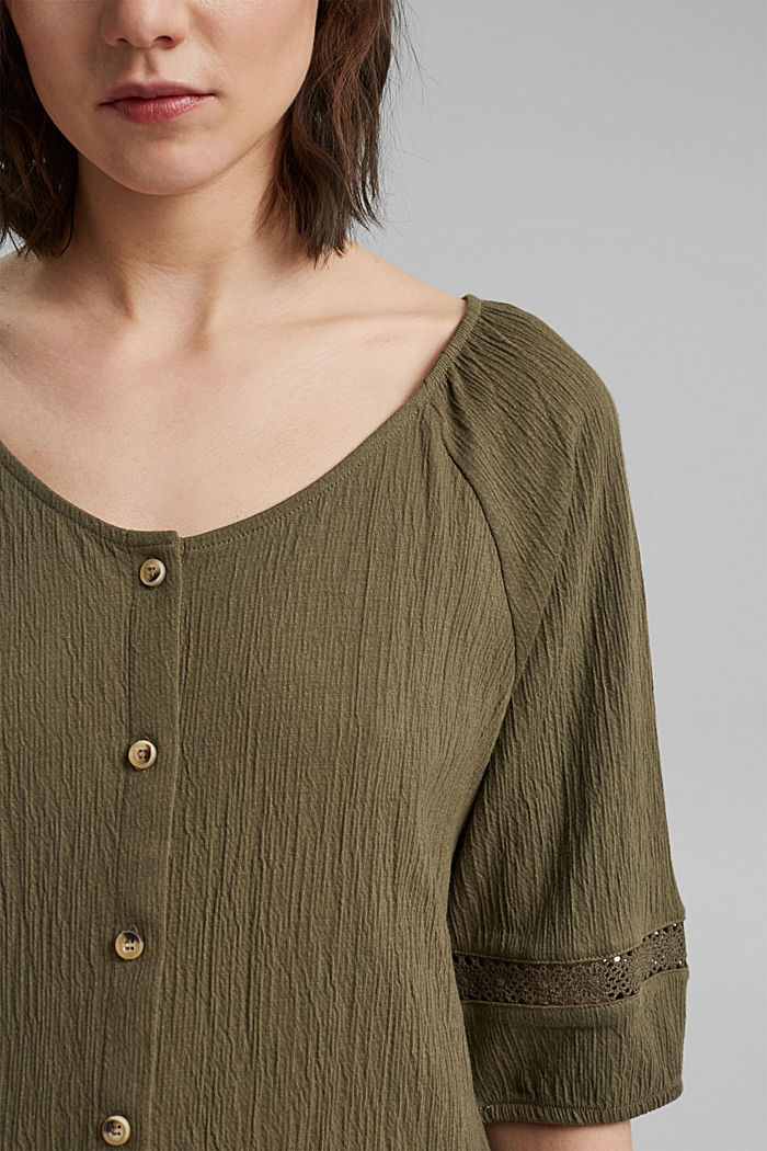 Crinkle top with crocheted lace, organic cotton, KHAKI GREEN, detail image number 2