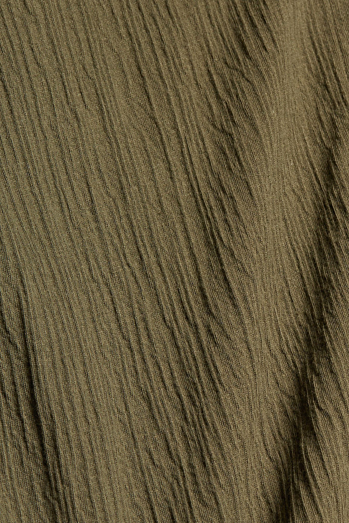 Crinkle-Shirt mit Häkelspitze, Bio-Baumwolle, KHAKI GREEN, detail image number 4