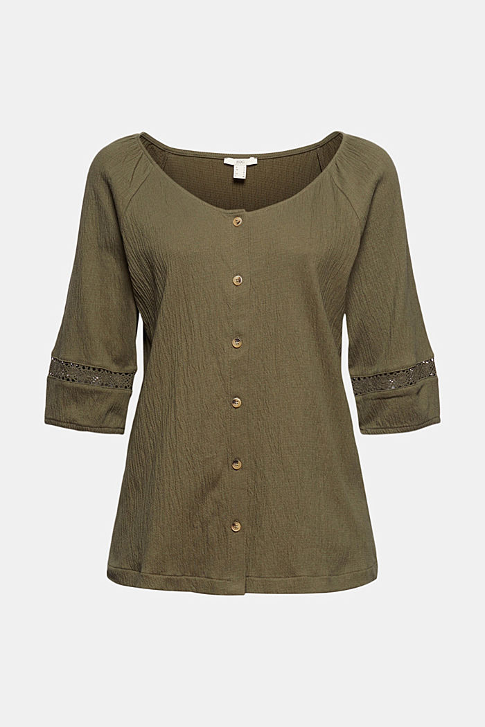 Crinkle top with crocheted lace, organic cotton, KHAKI GREEN, detail image number 6