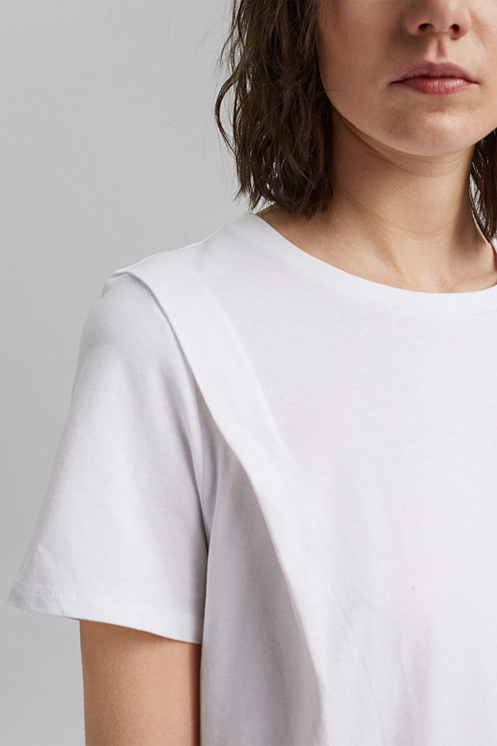 T-shirt with pleat details, organic cotton, WHITE, detail image number 2