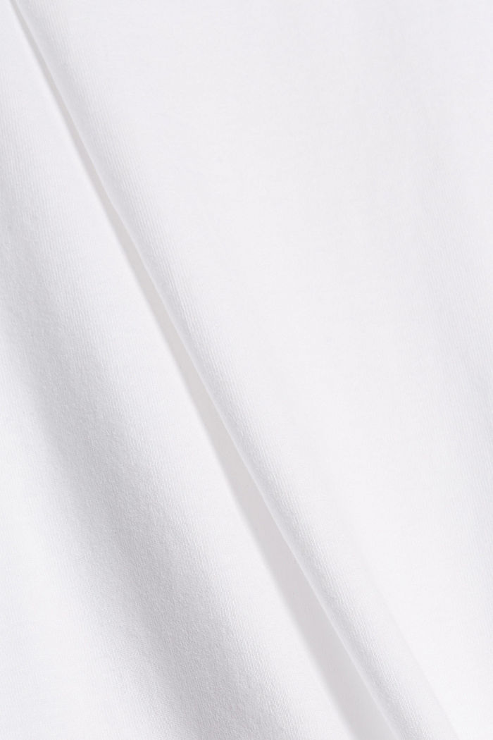 T-shirt with pleat details, organic cotton, WHITE, detail image number 4