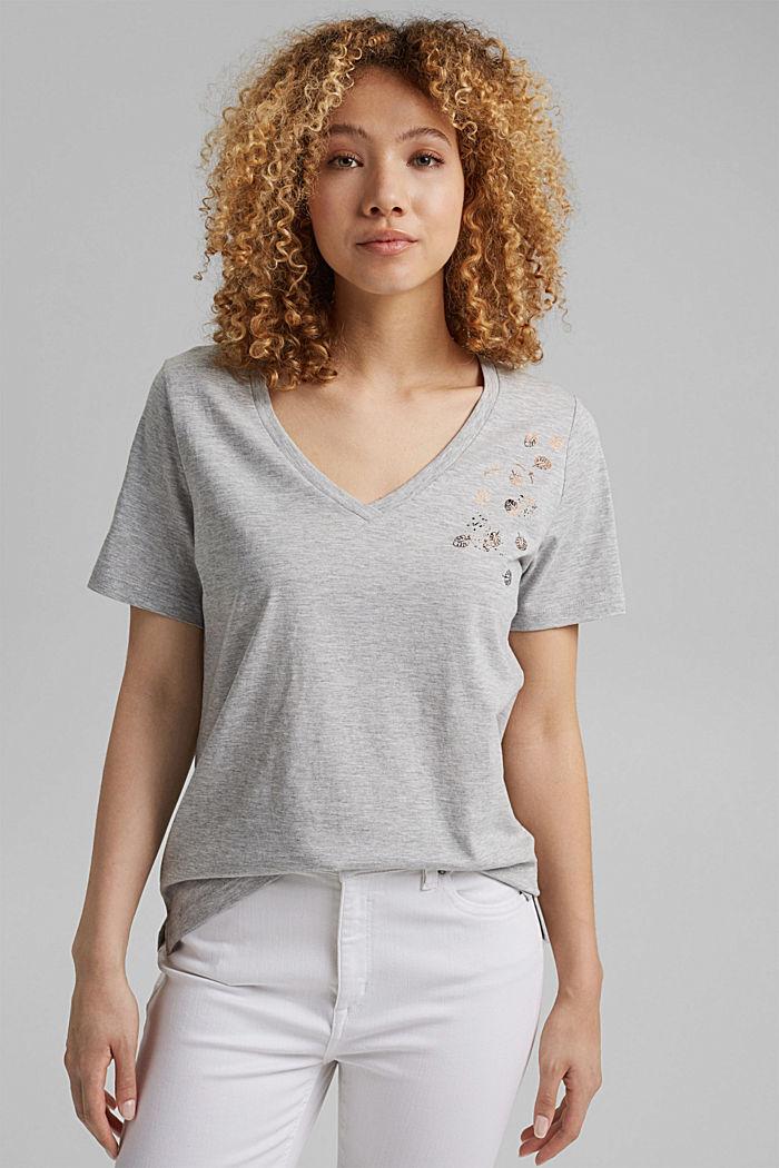 Luomupuuvillainen T-paita, jossa metallinhohtoinen painatus, LIGHT GREY, detail image number 0