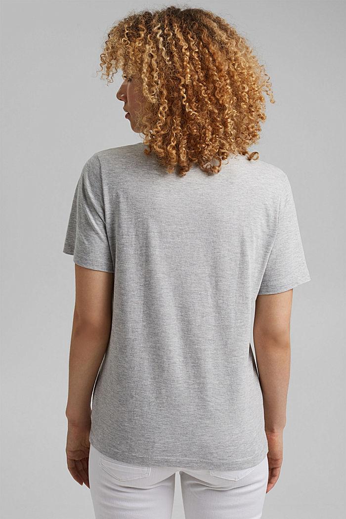 Luomupuuvillainen T-paita, jossa metallinhohtoinen painatus, LIGHT GREY, detail image number 3