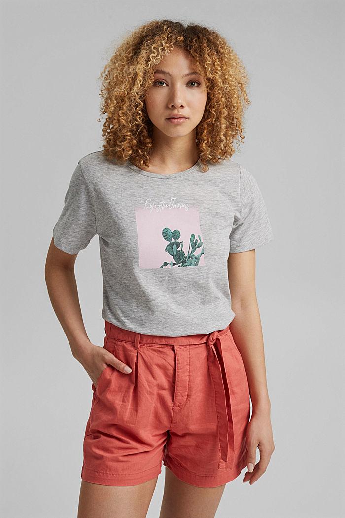 T-shirt orné d´un imprimé, coton biologique, LIGHT GREY, detail image number 0