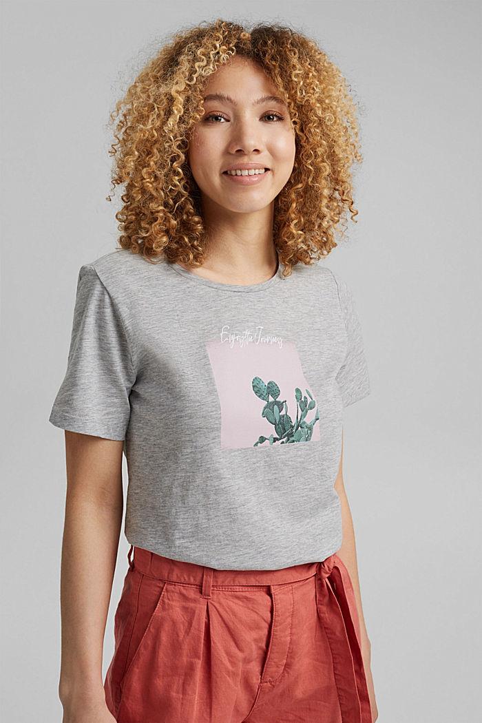 T-shirt orné d´un imprimé, coton biologique, LIGHT GREY, detail image number 5