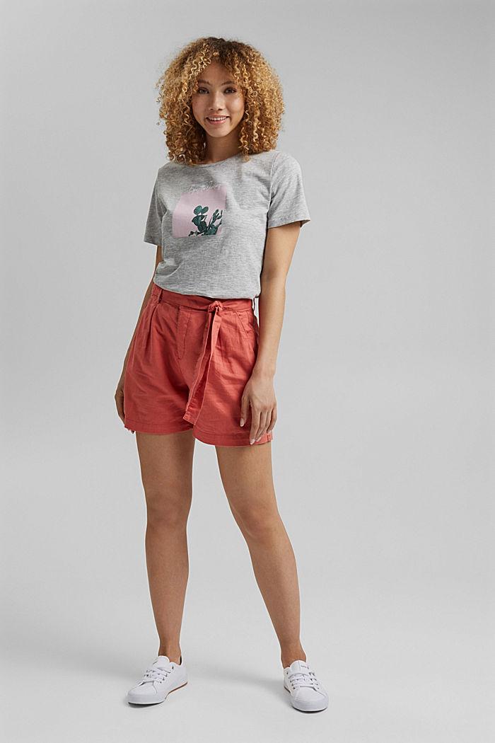 T-shirt orné d´un imprimé, coton biologique, LIGHT GREY, detail image number 1