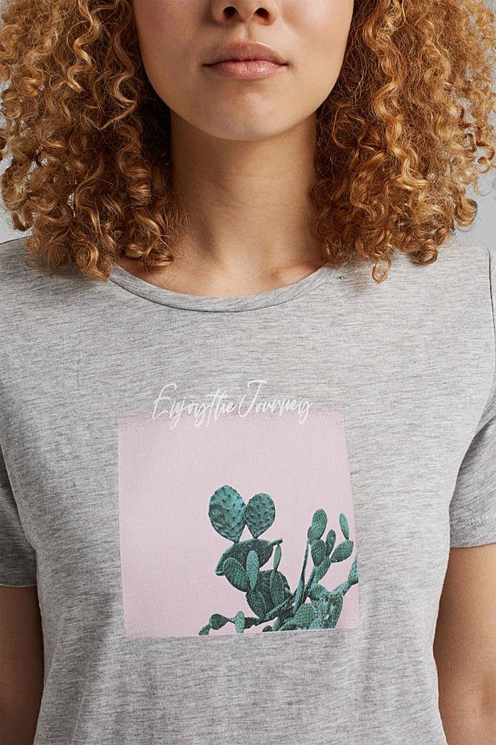 T-shirt orné d´un imprimé, coton biologique, LIGHT GREY, detail image number 2