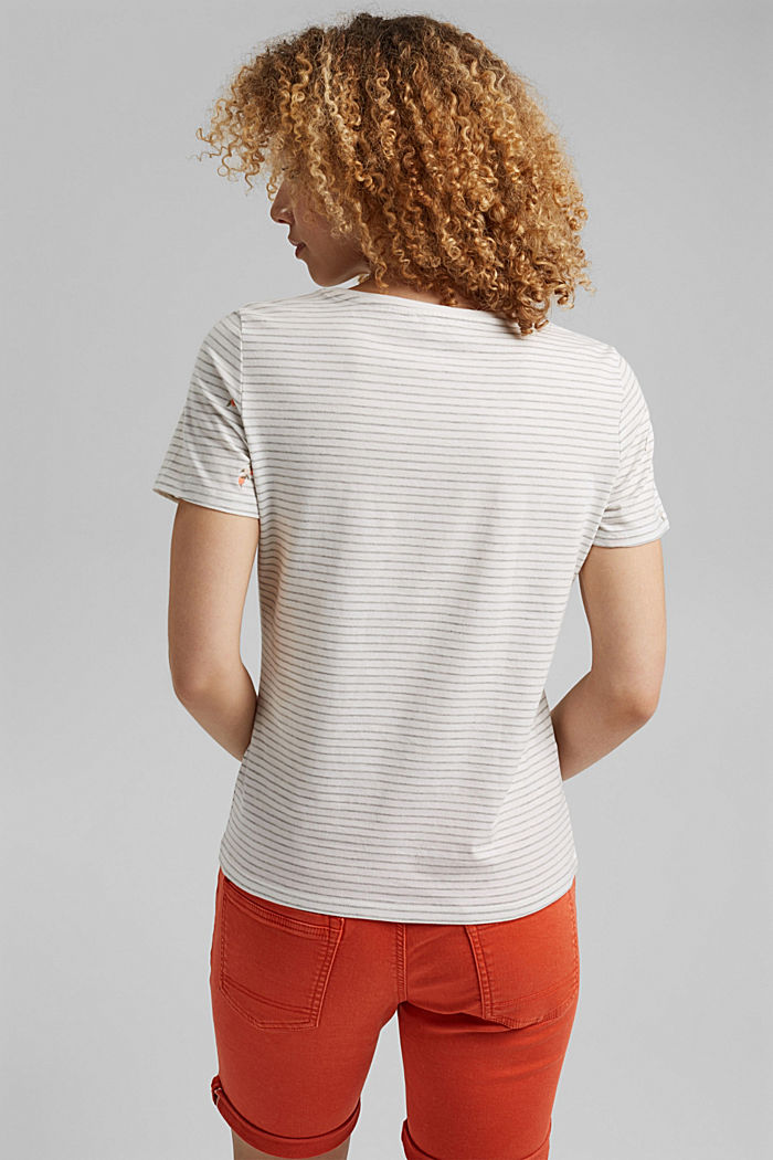 Embroidered T-shirt, organic cotton, LIGHT GREY, detail image number 3