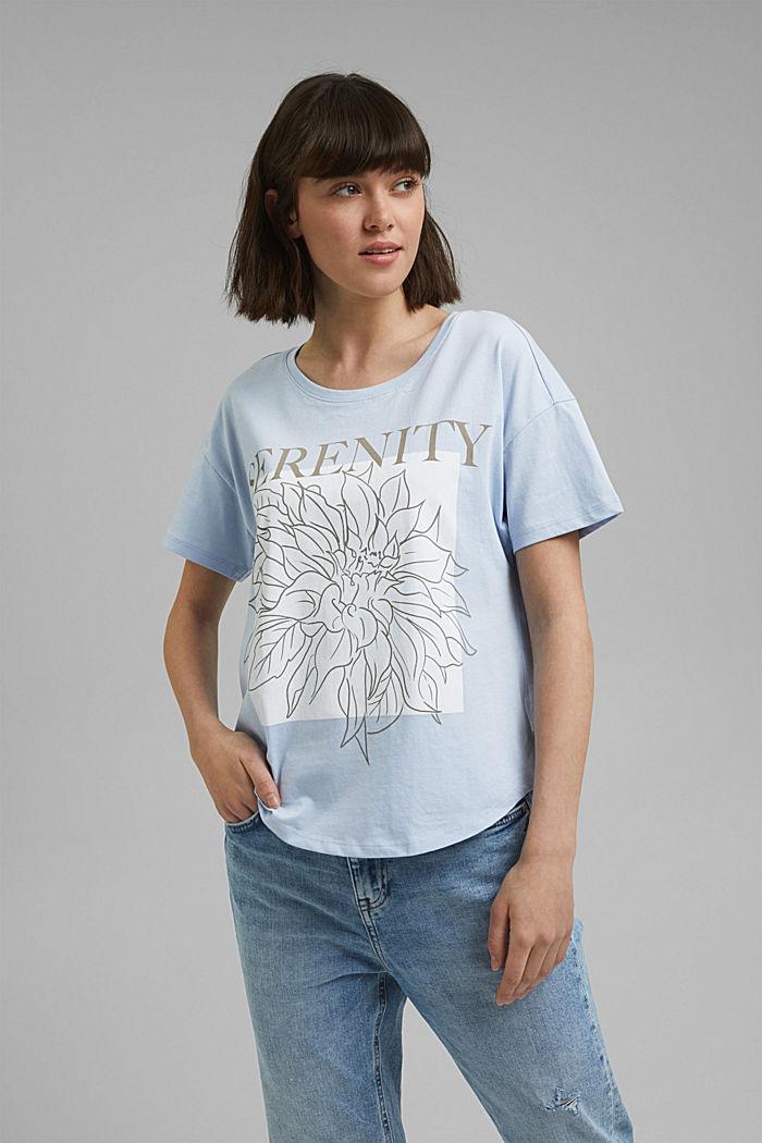 T-Shirt mit Print, 100% Organic Cotton, LIGHT BLUE LAVENDER, detail image number 0