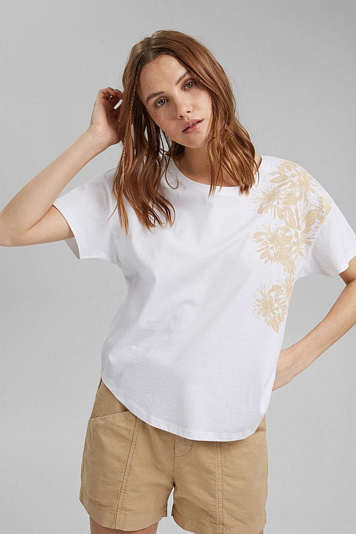 T-Shirt mit Blumenprint, 100% Bio-Baumwolle, WHITE, detail image number 0