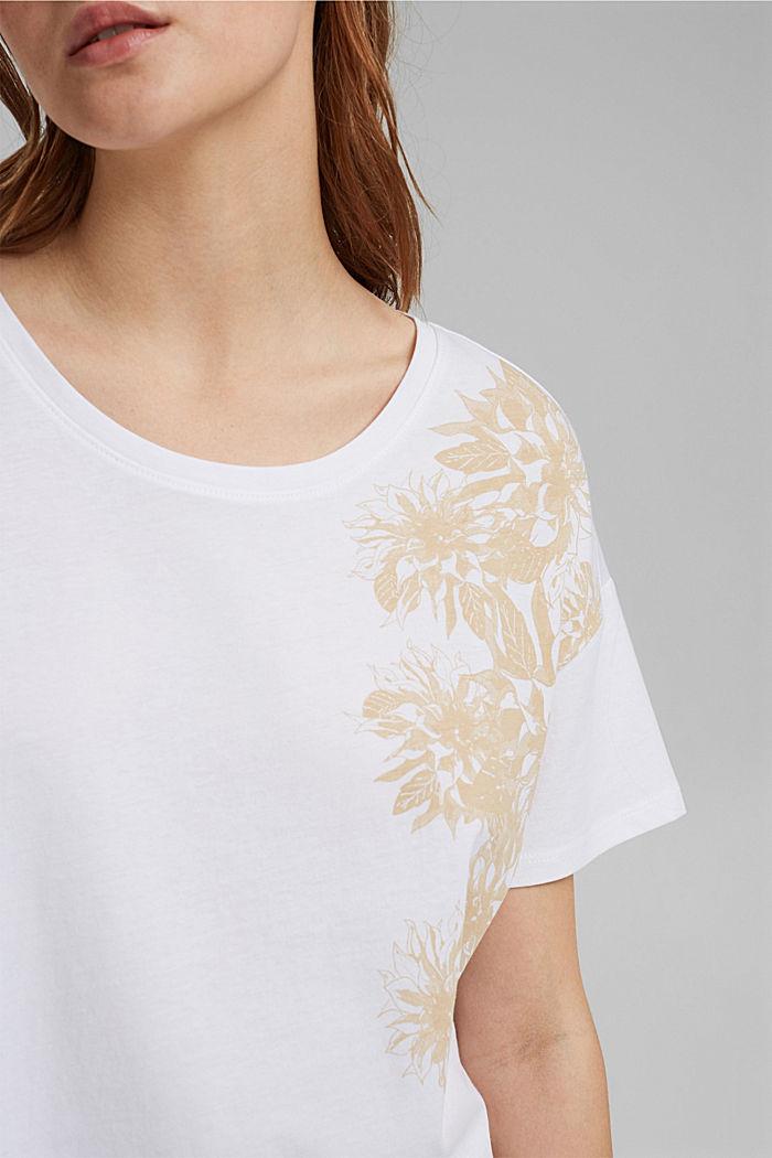 T-Shirt mit Blumenprint, 100% Bio-Baumwolle, WHITE, detail image number 2
