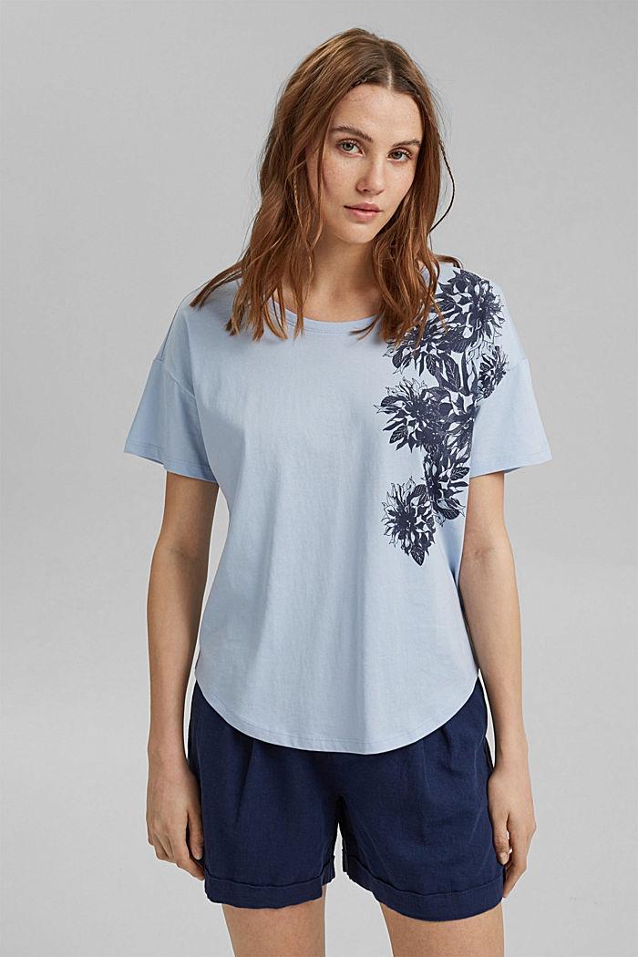 Floral print T-shirt, 100% organic cotton, LIGHT BLUE LAVENDER, detail image number 0