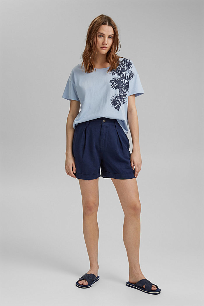 Floral print T-shirt, 100% organic cotton, LIGHT BLUE LAVENDER, detail image number 1