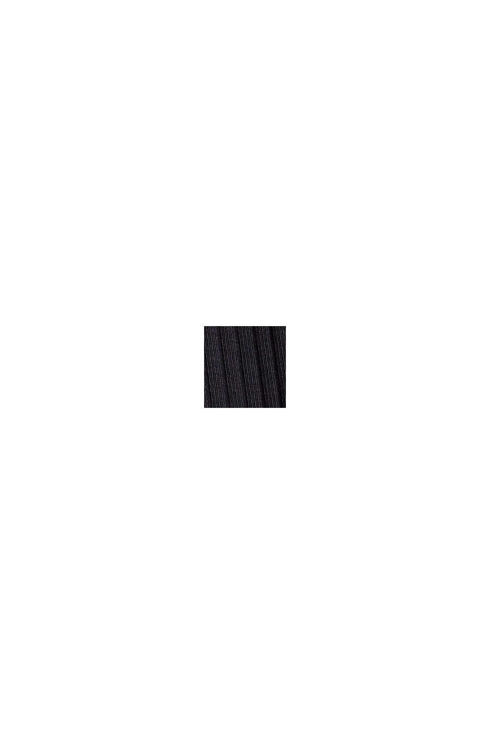 Geribde top met opstaande kraag, biologisch katoen, BLACK, swatch