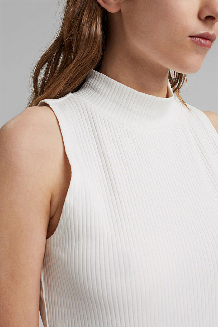 Ribbed top with band collar, organic cotton, OFF WHITE, detail image number 2