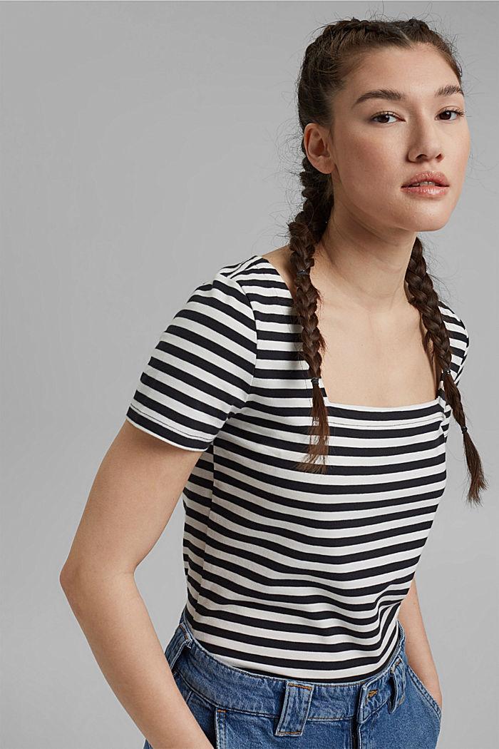 Striped square-neck T-shirt, organic cotton, BLACK, detail image number 0