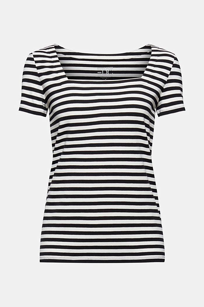 Striped square-neck T-shirt, organic cotton, BLACK, detail image number 5