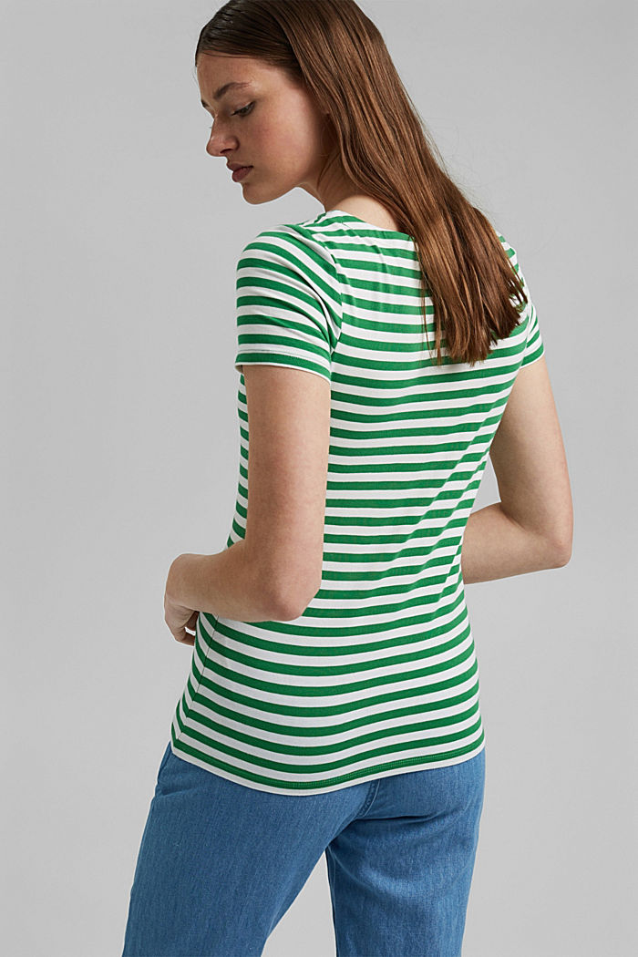 Striped square-neck T-shirt, organic cotton, GREEN, detail image number 3