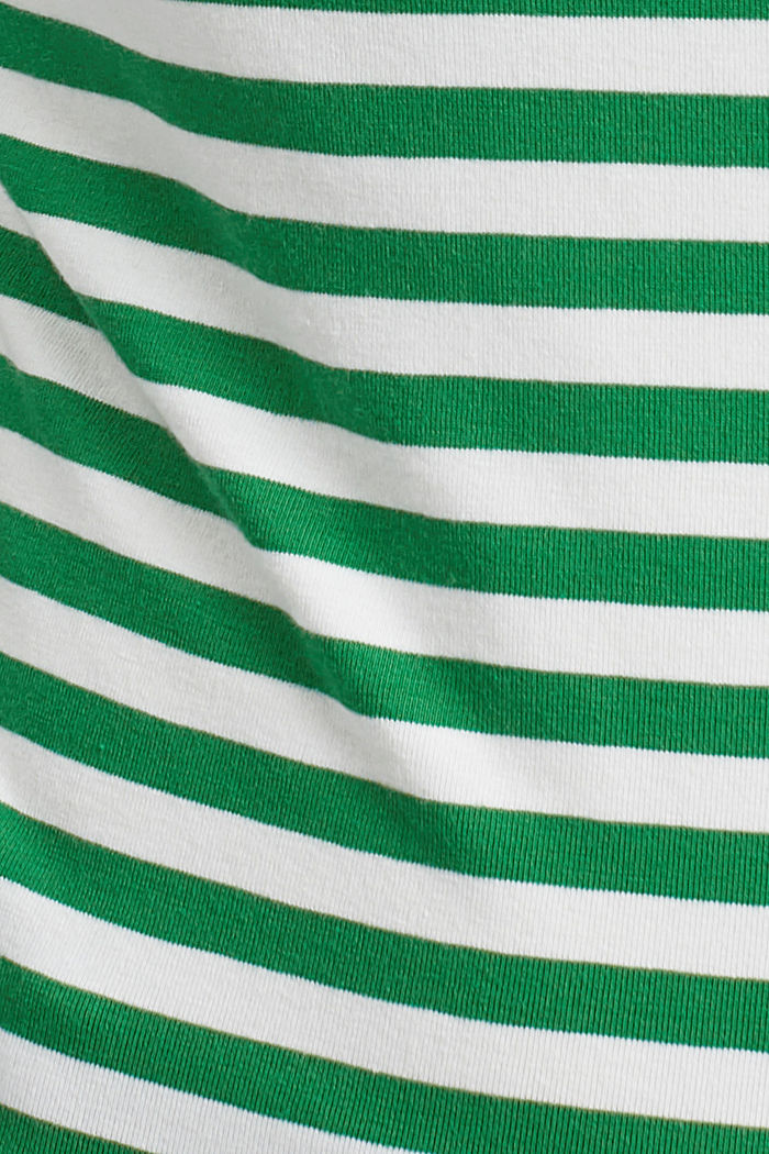 Striped square-neck T-shirt, organic cotton, GREEN, detail image number 4
