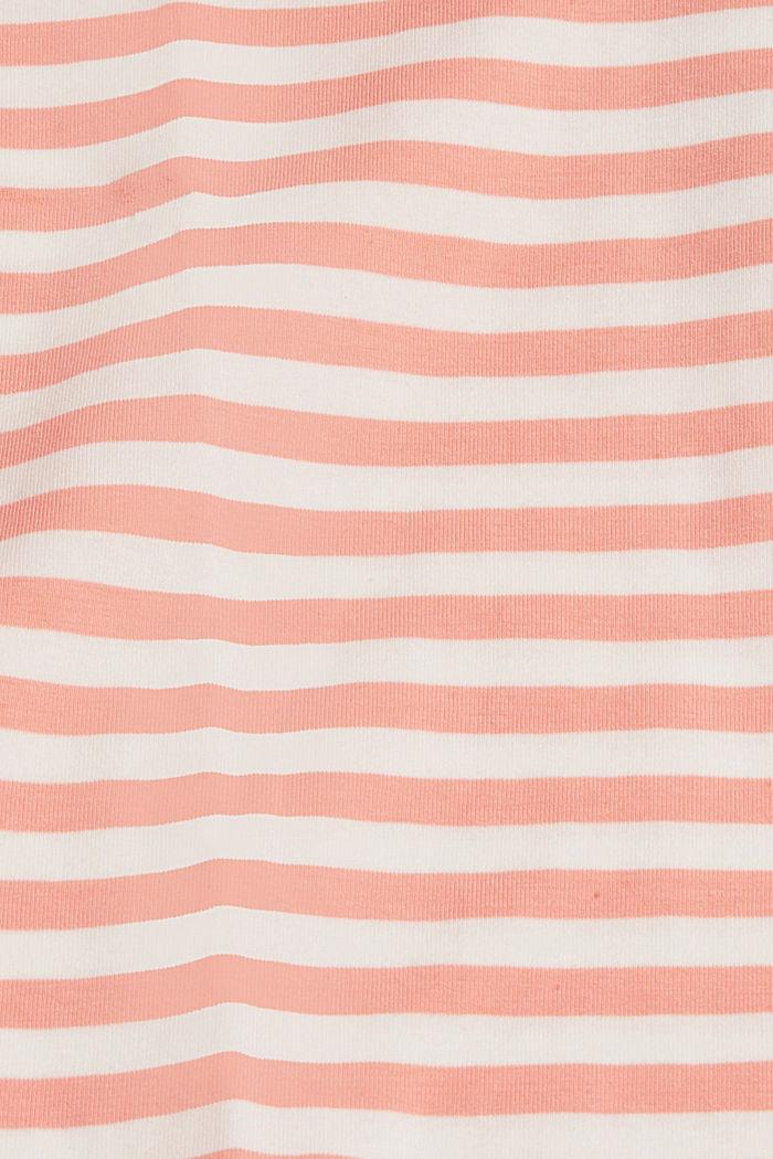 Raidallinen pusero kulmikkaalla pääntiellä, luomupuuvillaa, SALMON, detail image number 4