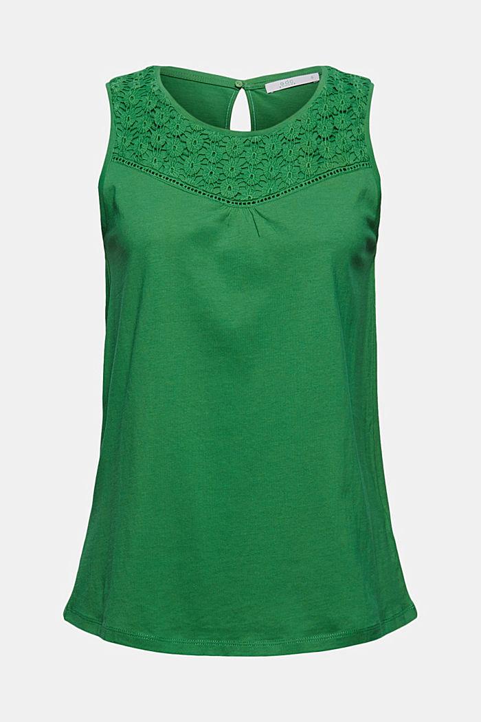 Jersey top met gehaakte kant, biologisch katoen, GREEN, detail image number 6