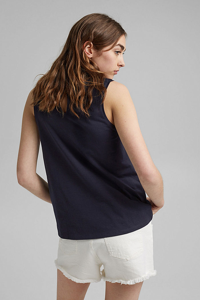 Jersey top with crocheted lace, organic cotton, NAVY, detail image number 3