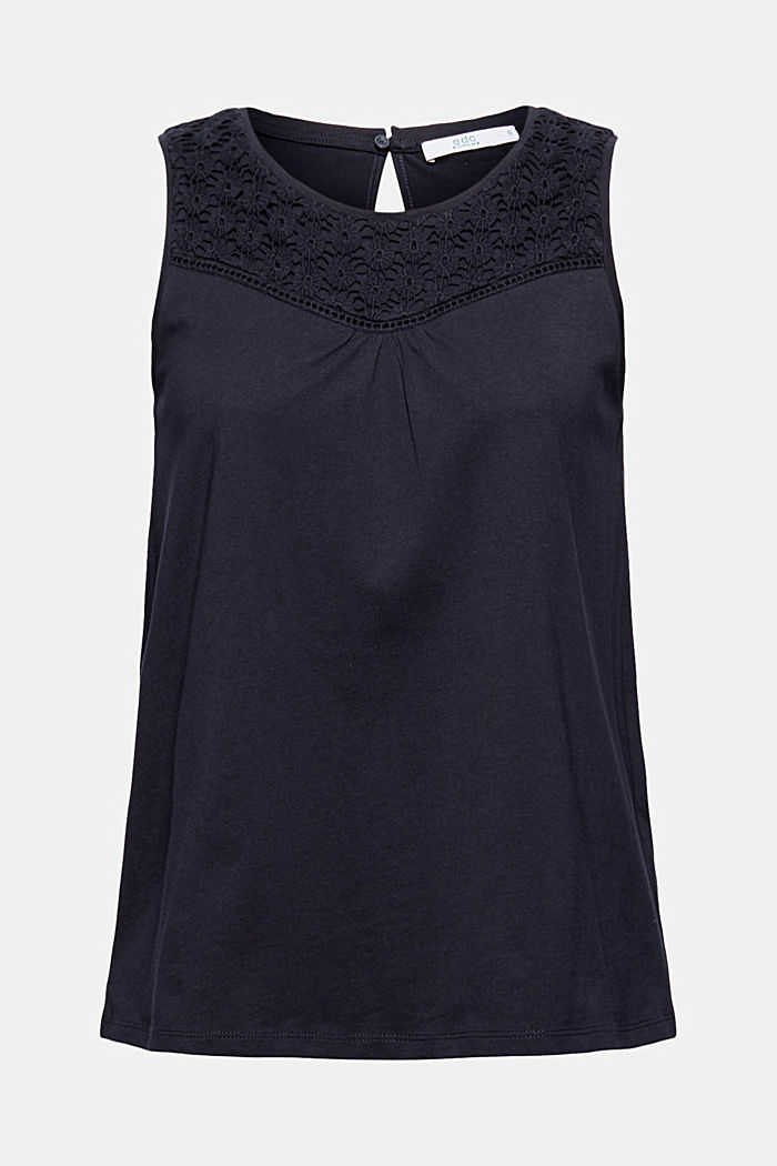 Jersey top with crocheted lace, organic cotton, NAVY, detail image number 6