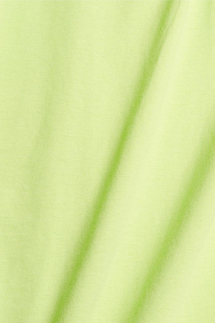 Pitsisomisteinen jerseytoppi, luomupuuvillaa, LIME YELLOW, detail image number 4