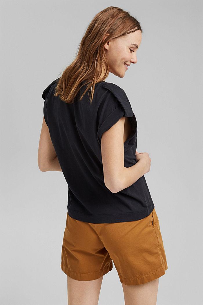 Tričko s pásky, 100% bio bavlna, BLACK, detail image number 3