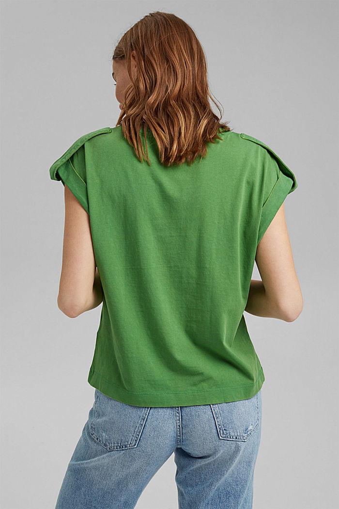 Camiseta con detalles de trabillas, 100% algodón ecológico, GREEN, detail image number 3
