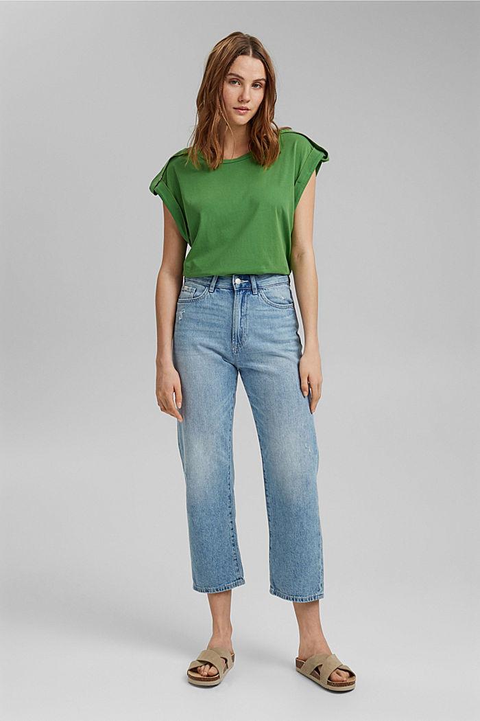 Camiseta con detalles de trabillas, 100% algodón ecológico, GREEN, detail image number 1