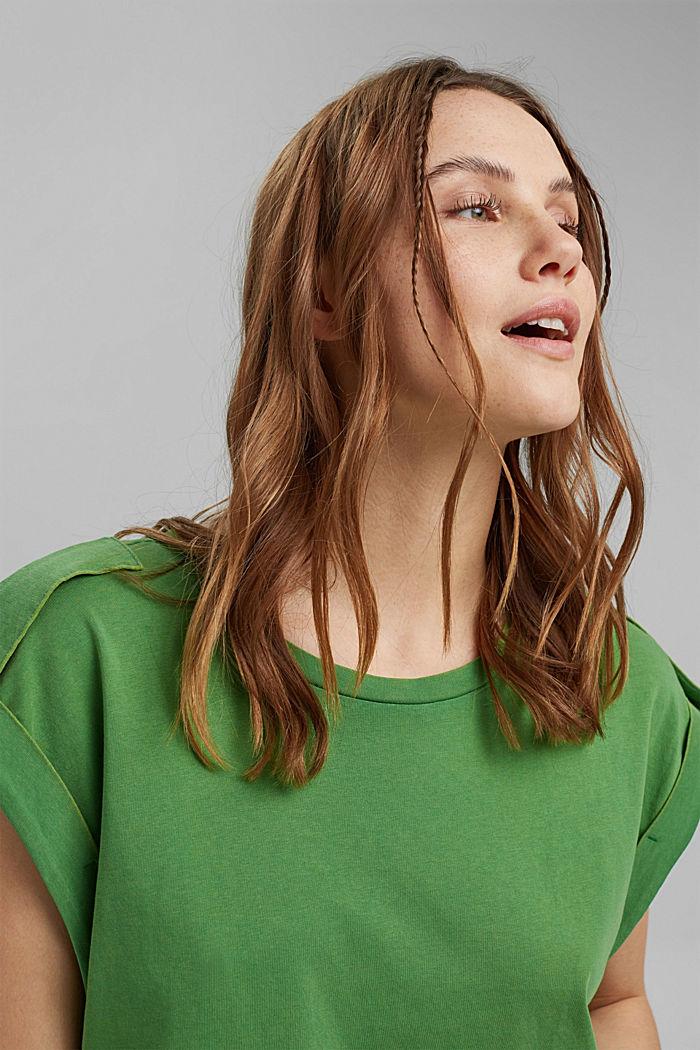 Camiseta con detalles de trabillas, 100% algodón ecológico, GREEN, detail image number 5